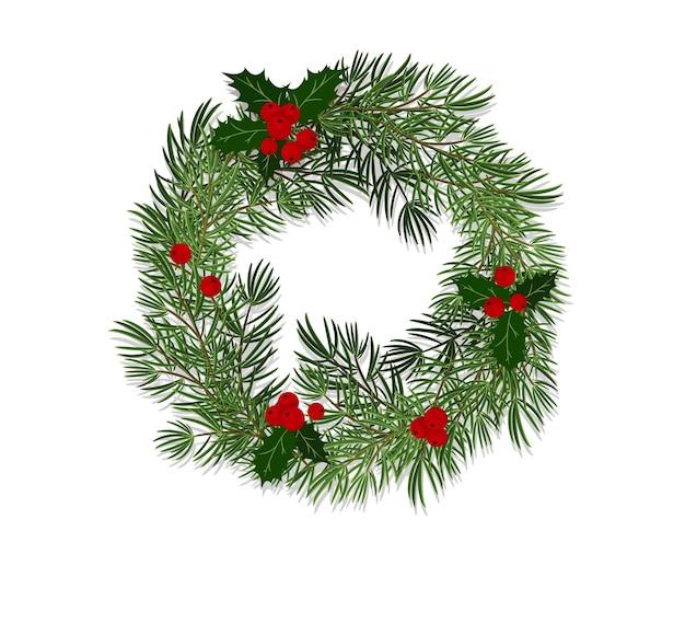 Corona de navidad hecha de ramas de abeto decoradas con hojas y bayas de acebo. vector de estilo plano, ilustración, aislado sobre fondo blanco.