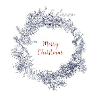Corona de navidad hecha de ramas y conos de abetos y abetos, bayas de serbal, rodajas de naranja, hojas de acebo, anís estrellado dibujado a mano en colores monocromáticos con líneas de contorno