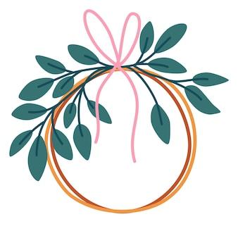 Corona de navidad con hojas de eucalipto y cinta. felices vacaciones. dibujar a mano ilustración vectorial para el diseño de navidad y año nuevo.