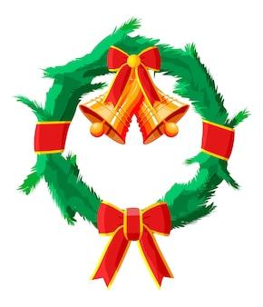 Corona de navidad con lazo rojo y campana de oro aislado. árbol de hoja perenne, ramas de abeto. feliz año nuevo decoración. feliz navidad. celebración de año nuevo y navidad. ilustración de vector de estilo plano