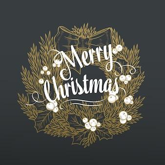Corona de navidad con las letras.