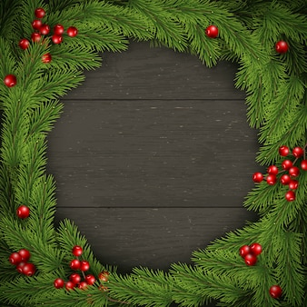 Corona de navidad en madera oscura. para tarjeta de felicitación, póster y pancarta