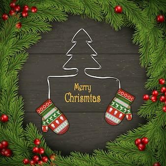 Corona de navidad con manoplas de colores en madera oscura.