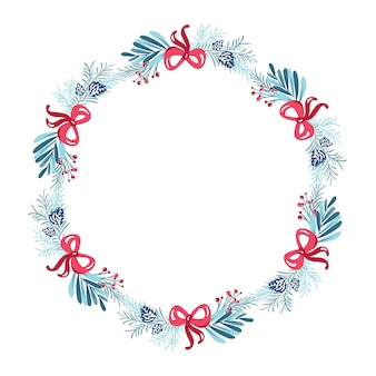 Corona de navidad con marco de flores de ramo