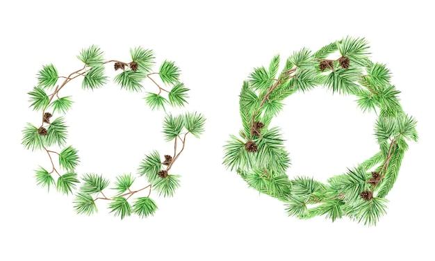 Corona de navidad marco redondo de ramas de pino y conos, acuarela