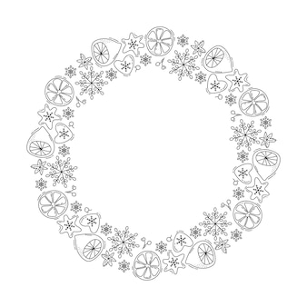 Corona de navidad monoline con limón, copos de nieve y bayas