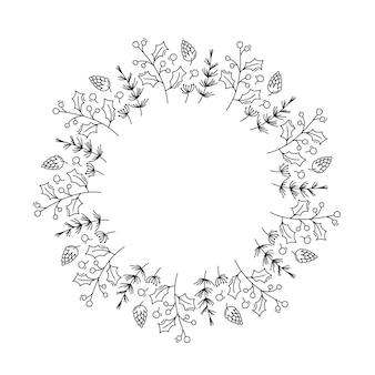 Corona de navidad monoline con ramas de cono y bayas