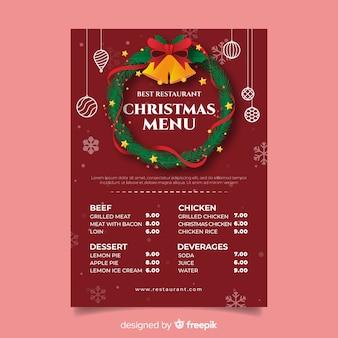 Corona de navidad con plantilla de menú de cascabeles