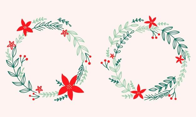 Corona de navidad con poinsettia y pino. marco de vacaciones.