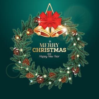 Corona de navidad con rama de abeto verde, conos, campanas doradas, lazo rojo y guirnalda de luz de neón sobre fondo verde. ilustración de vector.