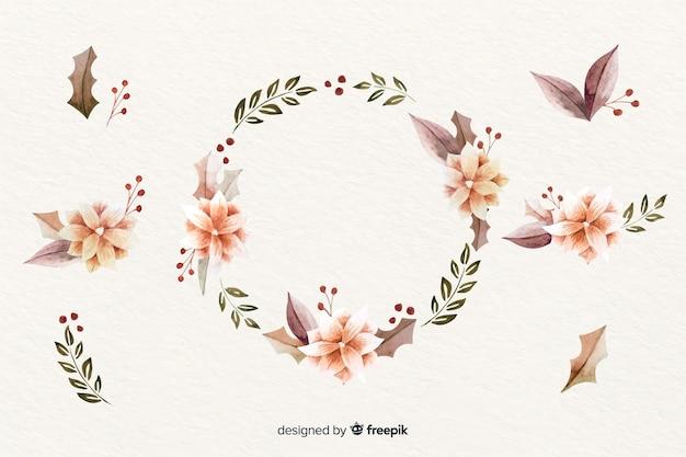 Corona de navidad con ramas negras y rosas y piñas