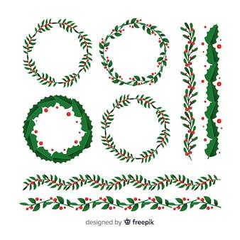 Corona de navidad con ramas verdes y piñas