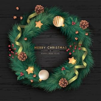 Corona de navidad realista en fondo negro de madera