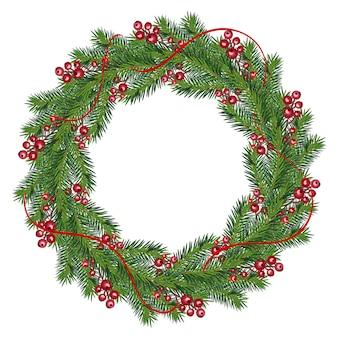Corona de navidad realista con frutos rojos en ramas de hoja perenne