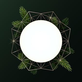 Corona de navidad redonda con ramas de abeto y forma geométrica. círculo con copyspace.