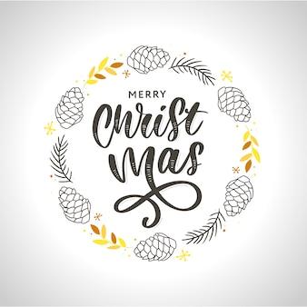 Corona de navidad de tinta dibujada a mano con conos y ramas de abeto