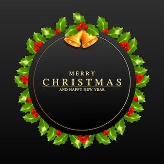 Corona de navidad de vector marco de navidad o año nuevo con bayas de acebo hojas verdes y campana