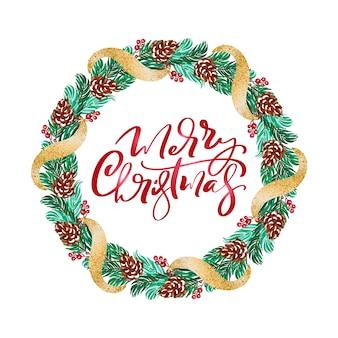 Corona de navidad vector con ramas de bayas rojas y texto feliz navidad