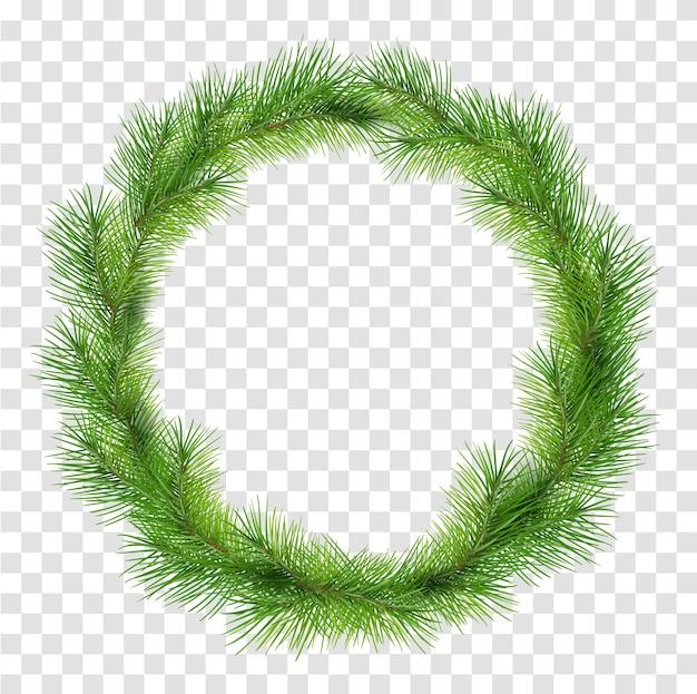 Corona de navidad verde de ramas de pino abeto aislado sobre fondo transparente. ilustración de dibujos animados
