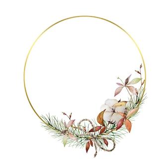 Corona navideña con círculos dorados, con ramas de árbol y algodón. corona de invierno pintada en acuarela
