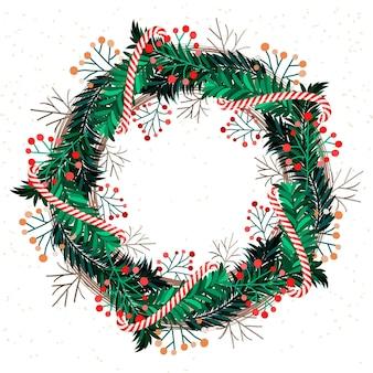 Corona navideña dibujada a mano