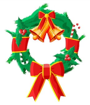 Corona navideña con lazo rojo y campana dorada
