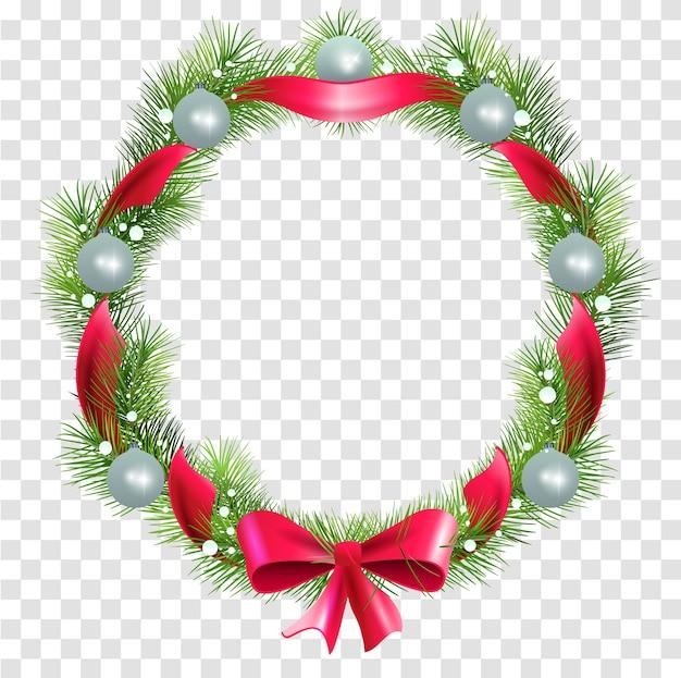 Corona navideña de ramas de abeto con bolas y cinta roja para decorar puerta. navidad adornado sobre fondo transparente