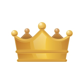 Corona de oro aislada sobre fondo blanco, ilustración vectorial