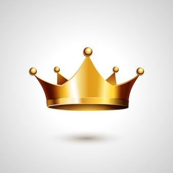 Corona de oro aislada sobre fondo blanco