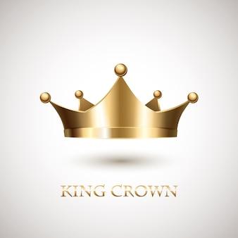 Corona de oro aislada sobre fondo blanco.