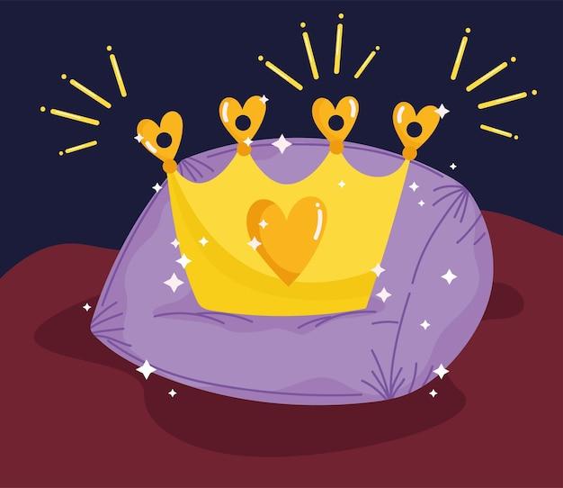 Corona de oro de dibujos animados de cuento de princesa en ilustración de vector de decoración de cojín