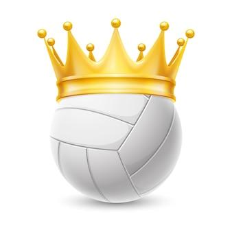 Corona de oro en una pelota de voleibol