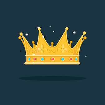Corona de oro real para reina, princesa, rey sobre fondo oscuro. premios para ganador, campeones, concepto de liderazgo.