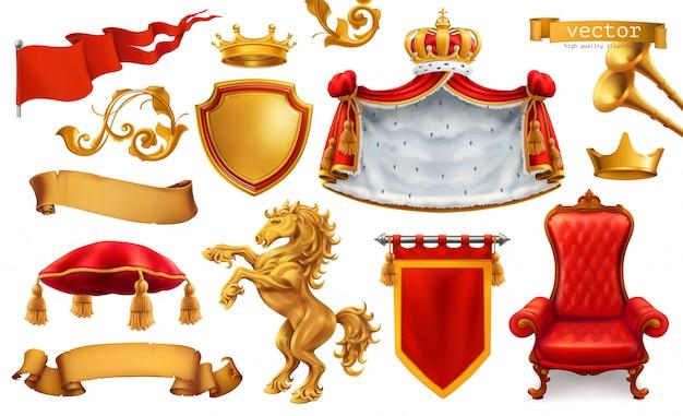 Corona de oro del rey. silla real, manto, almohada.