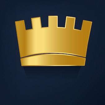 Corona de oro en vector de fondo azul