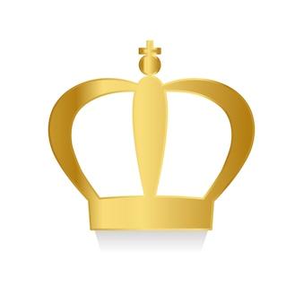 Corona de oro en vector de fondo blanco