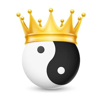 Corona de oro en yin-yang