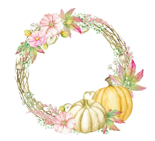 Corona de otoño con calabazas, hojas, flores, ramas. plantilla de forma redonda de acuarela