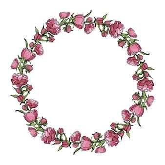 Corona de peonías. dibujado a mano ilustración de estilo de dibujos animados. lindo verano o primavera marco boda, vacaciones o tarjeta