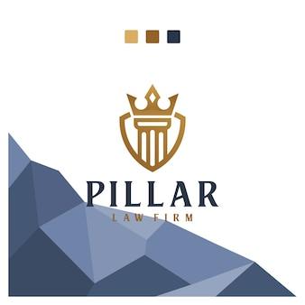 Corona de pilar, abogado, legal, oficina, inspiración para el diseño de logotipos