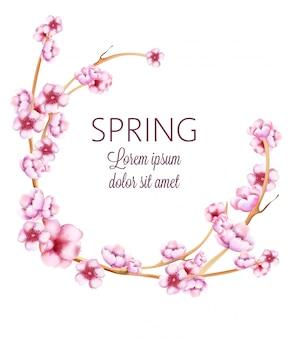 Corona de primavera rosa con flores de flor de acuarela