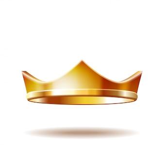 Corona real dorada aislada en blanco