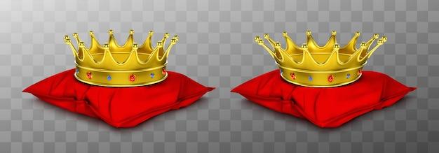 Corona real de oro para rey y reina sobre almohada roja