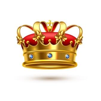 Corona real terciopelo dorado realista