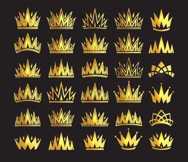 Corona de la reina, tocado de oro real. rey accesorio dorado. conjunto de ilustraciones aisladas.