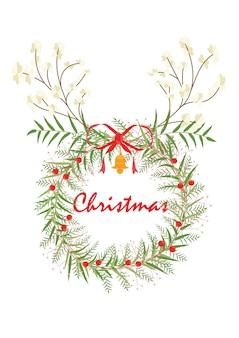 La corona de renos. tarjeta de chrismas y tarjeta de año nuevo. la cornamenta y guirnalda de flecker blanco de diseño riendeer. la flor es vector para tarjeta. el vector no es rastrear ni copiar imagen.