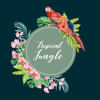 Corona tropical remolino de verano con plantas follaje exótico, acuarela creativa.