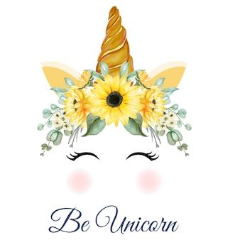 Corona de unicornio de acuarela con girasoles