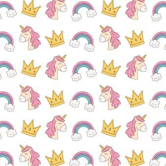 Corona de unicornio y patrón de arcoiris