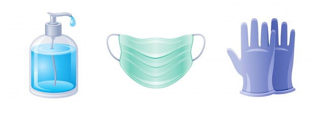 Corona virus covid 19 conjunto de iconos. colección de prevención de coronavirus. botella de jabón, máscara de respirador, iconos de guantes médicos quirúrgicos.